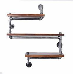 Diwhy Industrial Pipe Shelving Bookshelf Rustic Modern Wood Ladder Pipe Wall She