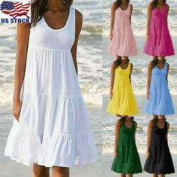 Womens Holiday Summer Solid Sleeveless Party Beach Loose Short Dress Sundress
