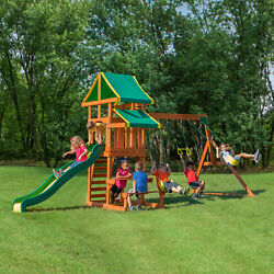 Backyard Discovery Swing Set Tucson Cedar Wooden Outdoor Playground Kids Playset