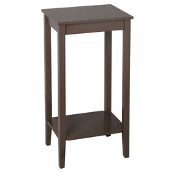 Hot Style Tall Side End Table Natural Wooden 2-tier Sofa Table Coffee Colour NEW