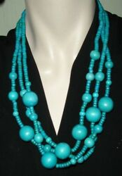 Vintage 1980's Aqua Blue Green Painted Wooden Round Beads Necklace 3 Strands