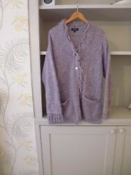 MARILYN MOORE FOR KINGSHILL LILAC  MAUVE LAVENDER CARDIGAN - MOHAIRE MERINO - L