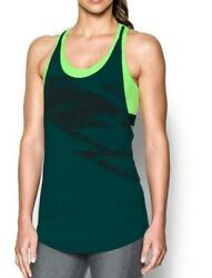 NWT Under Women#x27;s HeatGear Armour 2 in 1 Printed Tank UA Large Arden Gren Lime $35.72