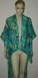UNBRANDED SHEER TURQUOISE BLUE BEACH COVER-UP ONE SIZE $34.99