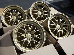 Used Set 18x9.5 Rota MXR 5x100 +38 Plain Gold Rims Aggressive Fits Wrx Frs