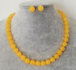 Handmade 10mm Natural Yellow Jade Round Beads Necklace Earring Set 18'' AAA