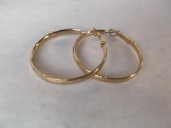JCM 925 silver hollow hoop pierced earrings with a gold wash- 3.6 grm