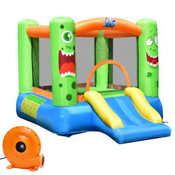 Inflatable Castle Bounce House Jumper Kids Playhouse with Slider and 580W Blower