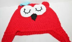 Baby Kids Toddler Unisex Winter Warm Crochet Knit Owl Beanie Hat Cap - Red sBow