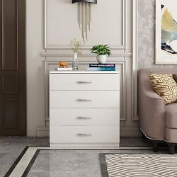 Dressers Chest of Drawers 4 Drawer Soft White Finish Bedroom Storage Furniture $82.99