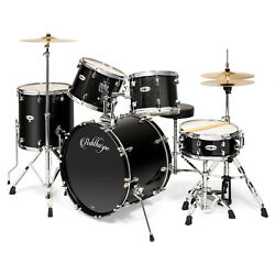 5pc Complete Full Size Pro Adult Drum Set Kit Remo Heads Brass Cymbals $367.25