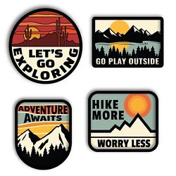 Adventure Outdoors 4 PCS set Vinyl Decal Sticker  For Hydro Flask yeti tumbler