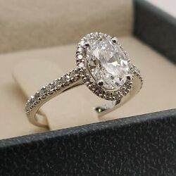 1.5 Ct Oval Natural Diamond Halo Engagement Ring 14K White Gold