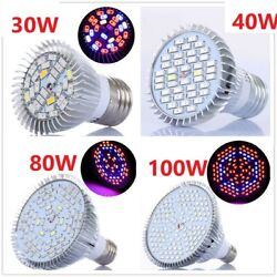 150100804030W E27 LED Grow Light Bulb Full Spectrum UV IR Plants Vegetables $5.33