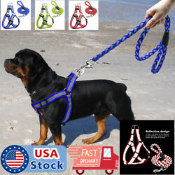 Reflective Dog Harness Step in Nylon Dog harness with leash Set S M L Safety $7.58