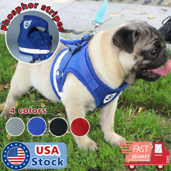 Small Dog mesh Vest harness Collar with Leash soft chest strap adjustable XXS L $8.98