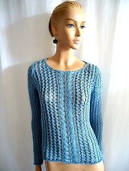 NWT ITALIAN CLORINDA OVER-SIZED BLUE CABLE  KNIT SWEATER SIZE S $64.00