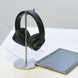 Solid Base Vinyl Edition Stainless Steel Headphones Stand Headset Hanger Sliver