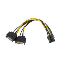 Dual SATA to PCI E Power Cable 15Pin SATA to 8 pin 6 pin Video Card Power Wire $4.99