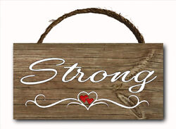 Strong Word Script Heart Hanging Wood Plaque Wall Sign Rustic Room Decor 12x6 $12.99