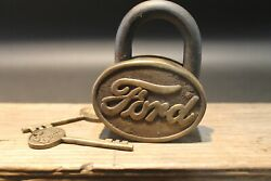 Antique Vintage Style Brass amp; Iron Trunk Chest Box Ford Lock Padlock $60.00