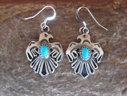 Native American Jewelry Sterling Silver Turquoise Thunderbird Earrings! Begay