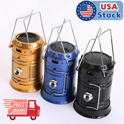 Camping Hiking Portable Solar Lantern AC Rechargeable LED Tent Lamp Light Torch