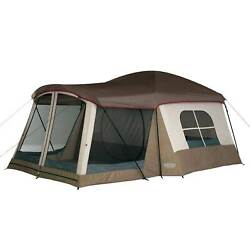 Wenzel Klondike 8 Person Large Outdoor Camping Tent w Screen Room Brown
