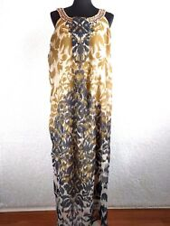 Cassees Dress 2X Plus Maxi Multi Color Floral Lined Embellished Bead Sleeveless $22.49