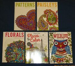 Adult Coloring: LOT C - 5 NEW Bks - Bargain Cost - Wildlife Paisley Floral etc
