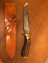 A G RUSSELL CUSTOM SHOP STAG DAMASCUS Fighter KNIFE - T.C.Roberts 1850