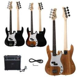 New Black Sunset Natural Basswood 4 Strings Electric Guitar Bass W 20W AMP