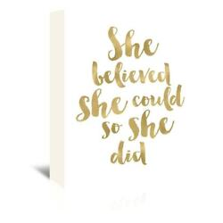 Amy Brinkman Design 'She Believed She Could' Wrapped Canvas Wall Art
