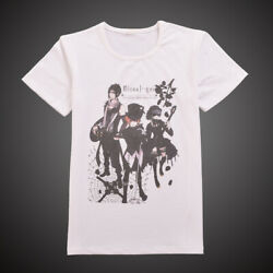 1PC White Casual Tops Anime Black Butler Pattern Short Sleeve T-shirt Cosplay