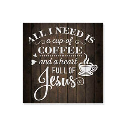 Coffee and Jesus Rustic Looking Inspiration Faith Wood Sign Wall B3 12120061069 $15.95