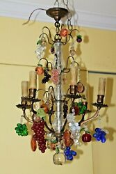 LATE 19thc MAISON BAGUES BRONZE CAGE - MURANO GLASS FRUIT - 6 LIGHT CHANDELIER