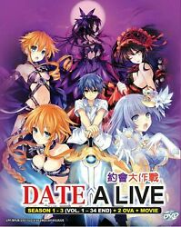 Anime DVD Date A Live Season 1-3 Vol.1-36 End + 2 OVA + Movie English Dubbed