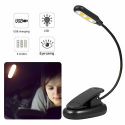 USB Rechargeable Table Reading Book Lamp Clip On 3 Level LED Desk Light Dimmable $11.98