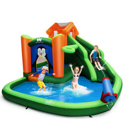 Inflatable Water Park Slide Bouncer w Climbing Wall Splash Pool Water Cannon