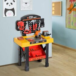 53pc Kids Pretend Play Toy Tool Workshop Bench Table Set DIY Workbench