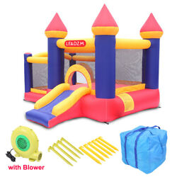 Safety Two Play Areas Inflatable Bounce House Kids Castle Slide with Blower $189.89