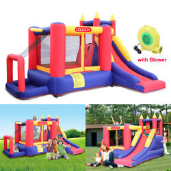 Inflatable Bounce House 3 Activity Areas Kids Slide Jump Castle with Air Blower