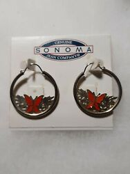 SONOMA GOLDTONE HOOP WITH RED BUTTERFLIES PIERCED EARRINGS EARRINGS NEW