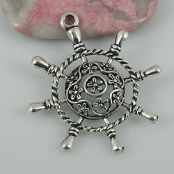 12pcs tibetan silver color floral SHIP'S WHEEL pendant EF0494 $3.65