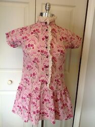Free People Pink Floral High Ruffled Neck Short Sleeve Button Down Peplum Top Sm $16.00