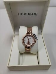 Anne Klein New York 122308SVRG Women's 35mm Rose-Gold-Tone Crystal Watch NWT