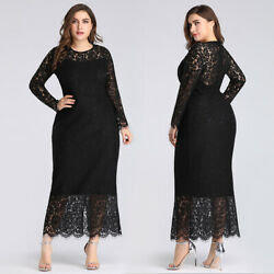 Ever-pretty US Plus Size Black Lace Long Sleeve Party Dresses Evening Prom Gowns $29.83