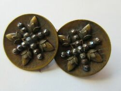 Gorgeous Lot of 2 Antique~ Vtg Victorian Metal BUTTONS Strawberries