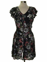 American Rag 8633 Size Small S Womens NEW Black Printed Shift Dress Lace-Up $59