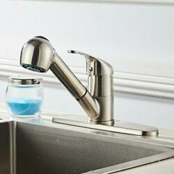 Swivel Stainless Kitchen Spout Single Sink Faucet Pull Out Spray Mixer Tap Steel $28.59
